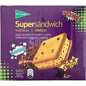 El Corte Inglés Supersándwich helado de vainilla y cobertura de chocolate estuche 600 ml 4 unidades
