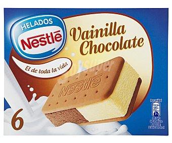 LA LECHERA Sandwich de helado de vainilla bourbon y chocolate con galletas estuche 600 ml 6 unidades
