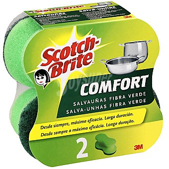 Scotch Brite Salvauñas Confort Fibra Verde Pack 2 unid