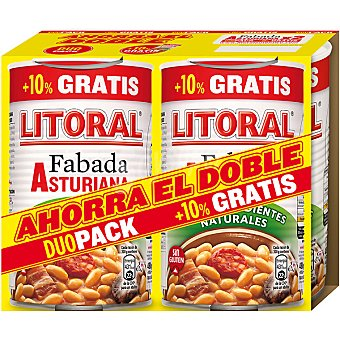 Litoral fabada Asturiana neto escurrido (+ 10 % gratis incluido en precio) pack 2 latas 485 g