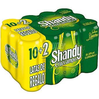 Shandy Cruzcampo cerveza sabor limón + 2 latas de regalo pack 10 latas 33 cl