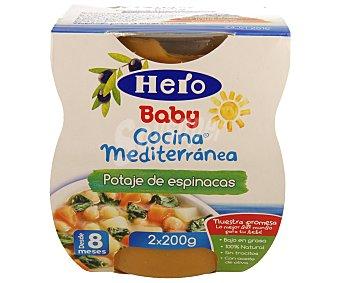 Hero Baby Tarritos de potaje de espinacas desde 8 meses estuche 400 g Cocina Mediterránea pack 2x200 g