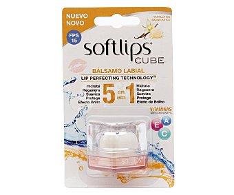 Softlips Protector labial, con sabor a vainilla y 5 efectos en 1 Cube