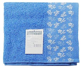 AUCHAN Toalla de algodón para lavabo, estamapado jacquard color azul, 50x100 centímetros 1 Unidad