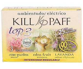 Kill-Paff Recambios eléctricos con esencias de rosas del valle, lavanda y manzana 3 unidades