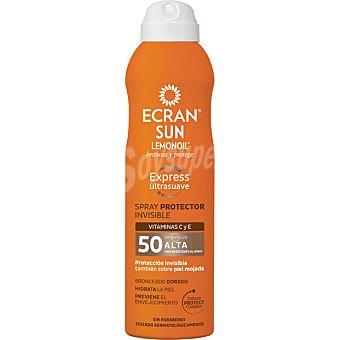 ECRAN SUN LEMONOIL Broncea y protege spray protector invisible ultrasuave FP-50 con vitaminas C y E resistente al agua Spray 250 ml