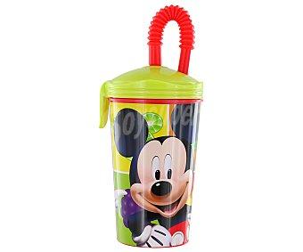 DISNEY Vaso de caña con tapa y pajita modelo Fruits, fabricado en polipropileno con divertidas ilustraciones de Mickey Mouse 1 Unidad