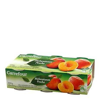 Carrefour Melocotón en almíbar extra Pack 3x220 g