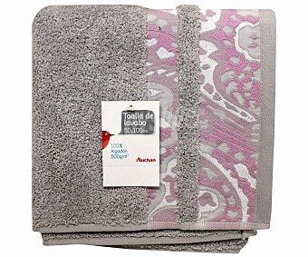 AUCHAN Toalla cenefa estampada color gris, 50x100 centímetros 1 Unidad