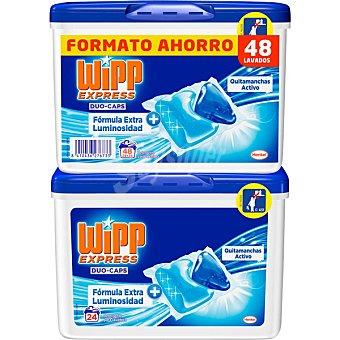 WIPP EXPRESS Duo-Caps Detergente máquina líqudo quitamanchas activo pack 2x24 envase 48 cápsulas Pack 2