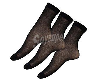 IN EXTENSO Pack de 3 pares de minimedias de espuma 20 den, color negro, talla única Pack de 3