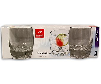 Bormioli 3 vasos de agua Galassia, y fabricados en vidrio transparente bormioli 30 centilitros
