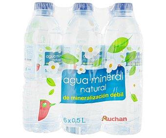 Auchan Agua Mineral Sin Gas Pack 6 unidades de 0,5 Litros