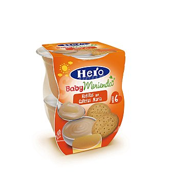 Hero Baby Natillas de Galleta Merienda 2 tarrinas de 130 g