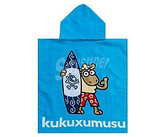 KUKUXUMUSU Poncho de playa estampado, tejido velour 100% algodón, 50x115 centímetros, densidad: 300 gramos/m² 1 unidad