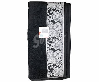 AUCHAN Toalla de algodón, estampado jacquard color gris, 100x150 centímetros 1 Unidad.