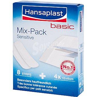 Hansaplast Apósitos Mix Pack Sensitive apósitos recortables 10x6 cm Caja 8 unidades + 4