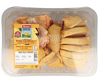 Auchan Producción Controlada Bandeja de medio pollo certificado y troceado