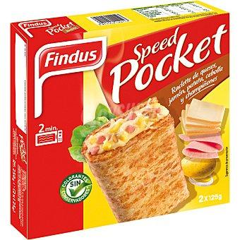 FINDUS Speed Pocket raclette de quesos, jamón patata cebolla y champiñones 2 unidades estuche 250 g 2 unidades
