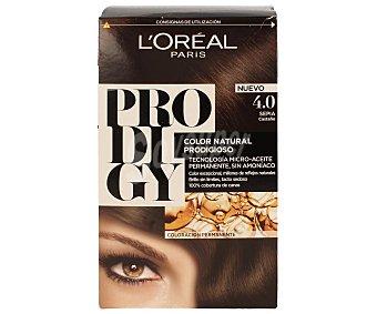Prodigy L'Oréal Paris Tinte Sepia Castaño nº 4.0 coloración extraordinaria caja 1 unidad tecnología micro-aceite sin amoniaco Caja 1 unidad