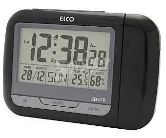 ELCO Despertador digital ED-87, alarma, calendario, luz, termómetro, proyección alarma, calendario, luz, termómetro, proyección