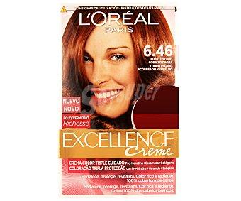 Excellence L'Oréal Paris Tinte de color rubio oscuro caoba cobrizo nº 6.46 Pack de 2 unidades
