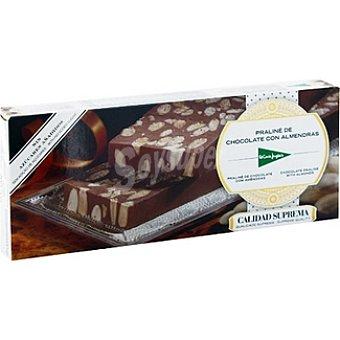 El Corte Inglés Turrón praliné de chocolate con almendras sin azúcar Tableta 200 g