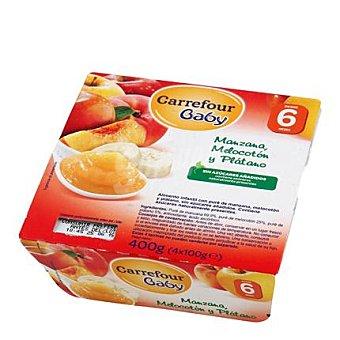 Carrefour Baby Tarrito de manzana, melocotón y plátano Pack 4x100 g