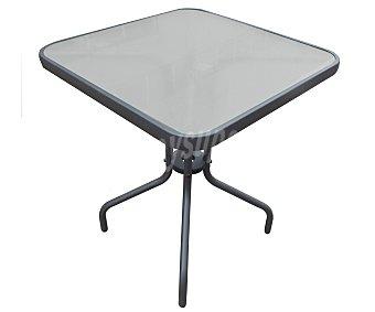 GARDEN STAR Mesa de acero color antracita y cristal templado de seguridad de 5 milímetros, modelo Bistro de 60x60x71 centímetros 1 unidad
