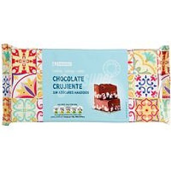 Eroski Turrón de chocolate crujiente sin azúcar Caja 200 g