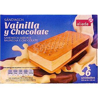 Aliada Sandwich helado sabor vainilla y chocolate 6 unidades estuche 600 ml 6 unidades