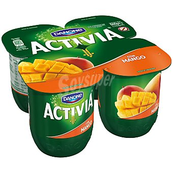 DANONE ACTIVIA Yogur con mango  pack 4 unidades 125 g