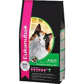 EUKANUBA HAIRBALL INDOOR alimento completo para gato adulto para el control de las bolas de pelo  bolsa 4 kg