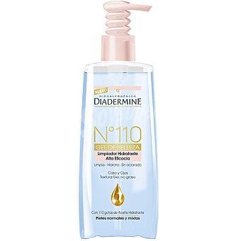 Diadermine Nº 110 gel de belleza limpiador hidratante alta eficacia para cara y ojos sin aclarado dosificador 200 ml con 110 gotas de Aceite hidratante para piel normal y mixta Dosificador 200 ml