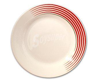 GSMD Plato de postre modelo Line, fabricado en porcelana con diseño redondo color blanco con líneas rojas 1 Unidad