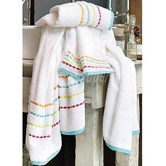 CASACTUAL Circo toalla jacquard sábana en blanco con cenefa multicolor