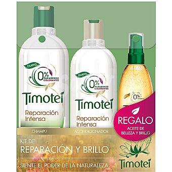 Timotei kit Reparación y Brillo con champú Reparación Intensa frasco 400 ml + acondicionador frasco 300 ml + aceite de belleza de regalo Frasco 400 ml