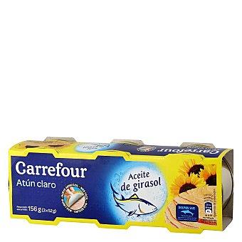 Carrefour Atún Claro en Aceite de girasol Pack de 3x52 g