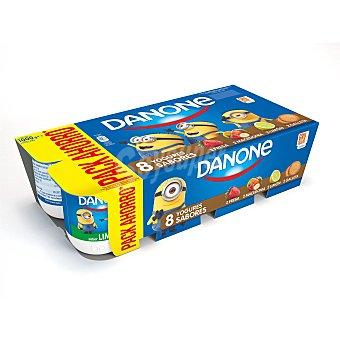 DANONE Yogur sabores 2 fresa+ 2 macedonia+ 2 limon+2 galleta pack 8 unidades 125 g