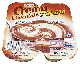 Hacendado Crema chocolate y vainilla Pack 4 x 130 g - 520 g