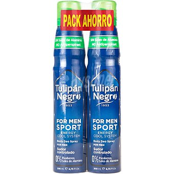Tulipan Negro For Men desodorante sport energy cool system pack 2 spray 200 ml Pack 2 spray 200 ml