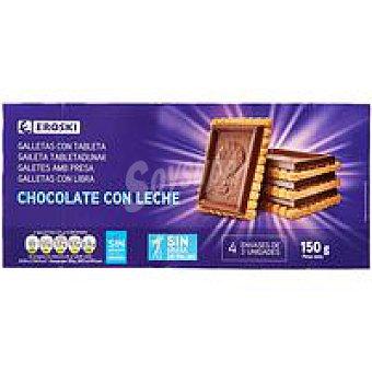 Eroski Galleta con tableta de chocolate con leche paquete 150 g