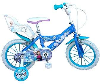TOIMSA Bicicleta Infantil Frozen con Portamuñecas Trasero, 1 Velocidad 14 Pulgadas 1 Unidad