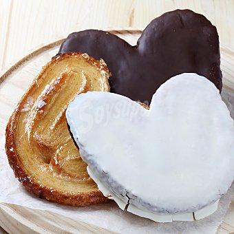 Carrefour Lote palmeras mixtas hojaldre: chocolate, azucar y chocolate blanco 6 ud 1 ud