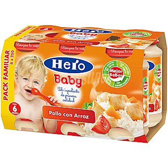 HERO BABY tarrito de pollo con arroz pack familiar envase 1500 g 6x250g