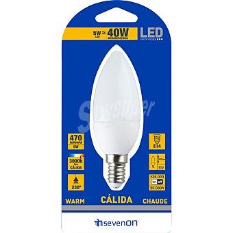 SEVENON 5 W (40W) lampara LED vela mate luz calida casquillo E14