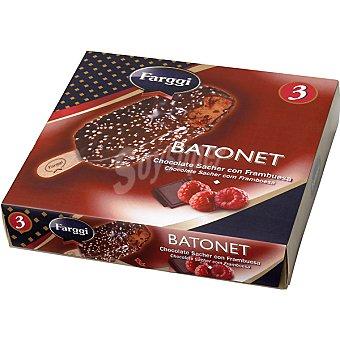 FARGGI Batonet Helados chocolate sacher con frambuesa estuche 270 ml 3 unidades