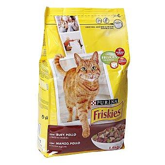 Purina Friskies Alimento para gato adulto con buey, pollo y verduras Bolsa 1,5 Kg