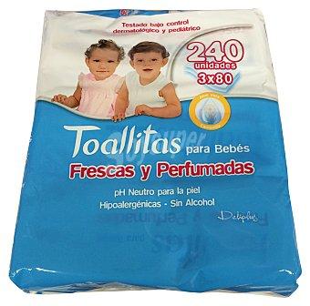 DELIPLUS Toallitas húmedas bebe frescas y perfumadas con aloe vera y camomila (nuevo perfume) 3 paquetes de 80 unidades
