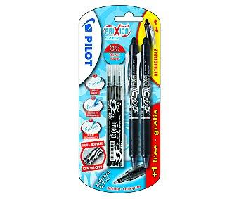Pilot Set de 2 bolígrafos retráctiles del tipo roller, de grip suave, punta media con grosor de escritura de 0.7 milímetros, tinta líquida borrable negra y 3 recargas 1 unidad